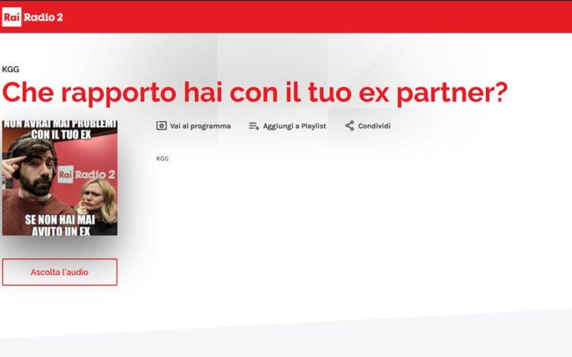 Che rapporto hai con il tuo ex? Rai Radio 2 intervista Adriano Legacci